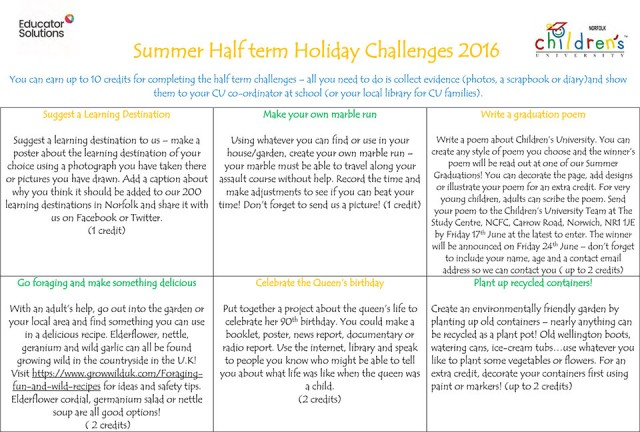 Summer Half term Holiday Challenges 2016